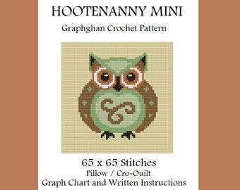 Hootenanny Mini Pillow / Cro-Quilt - Graphghan Crochet Pattern