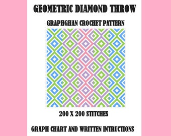 Geometric Diamond Throw - Graphghan Crochet Pattern
