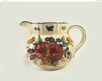 Antique Villeroy & Boch Genua Creamer, Old Abbey Ware, Large Ceramic Floral Cream Pitcher, Cottage Chic Decor, Spring Summer Flowers