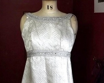 Vintage Metallic Silver Quilted Evening Gown, Handmade Small Maxi Dress with Rhinestones