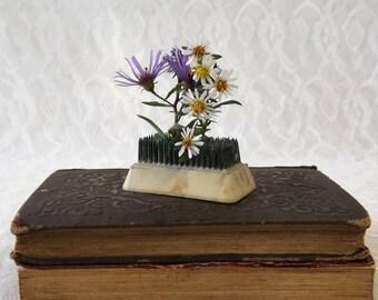 Small Flower Frog, Vintage Rectangular Holder, Metal Spikes, White Plastic Florist Pin Frog