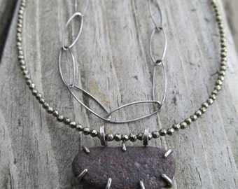 Short Beach Stone Necklace Brown Double Multi Strand Choker Sterling Silver and Sparkling Pyrite Choker Necklace
