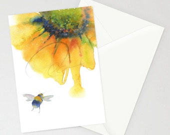 Greeting Card - NECTAR - Wildlife, Sunflower, Nature, Bumblebee, Pollination, Warm, Watercolor Art Painting