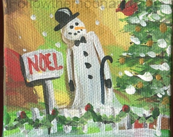 Little Mr. Snowman NOEL with Holiday Christmas Tree Small Art Canvas Acrylic Mini Painting