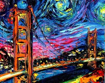 CANVAS print Golden Gate Bridge Starry Night van Gogh Never Saw Golden Gate Aja 8x8, 10x10, 12x12, 16x16, 20x20, 24x24, 30x30 inches choose