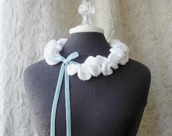 Keepsake Neck Ruffle 001 - Crocheted Scarflette - Bright White - Ready to Ship