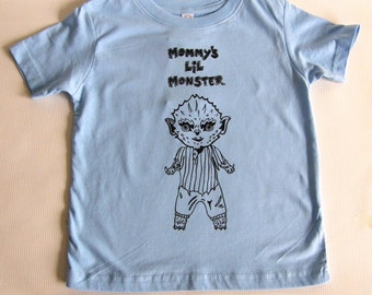 Mommie's Lil Monster Toddler Tee Shirt- Hand Printed Cotton-Light Blue- Kids cool tee shirt, Sizes  2T - 5/6