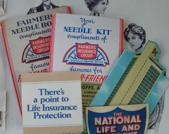 Four Vintage Needle Books from Insurance Companies