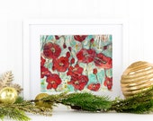 FLORAL PRINT | modern Red poppy flower art | mixed media art | collage art | red home decor  turquoise blue green & metallic gold shimmer