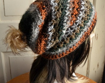 Crochet Slouch Hat with Fur Pompom Unisex Rustic Gray Rust Brown