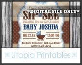 Country Western Sip And See Invitation Little Cowboy Theme Baby Shower Party Blue Brown Cute Digital Printable Customized 5x7