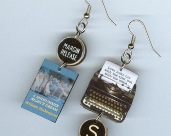 Book Earrings - A Midsummer Night's Dream Shakespeare - Typewriter key jewelry - English Literary gift - book club librarian teachers