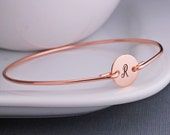 Rose Gold Bangle Bracelet, Personalized Rose Gold Jewelry, Pink Gold Filled Initial Jewelry