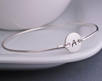 Personalized Jewelry, Simple Initial Bracelet, Custom Sterling Silver Bangle Bracelet, Personalized Bracelet, Modern Bangle Bracelet