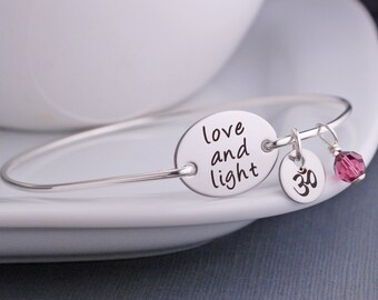 Love and Light Bracelet, Yoga Jewelry, Yoga Bangle Bracelet, Yogi Jewelry Gift