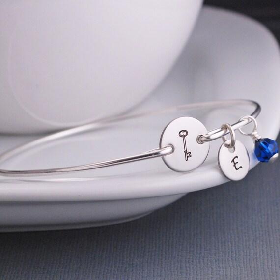 Key Jewelry, Silver Key Bracelet, Skeleton Key, Silver Bangle Bracelet, Kappa Kappa Gamma Jewelry