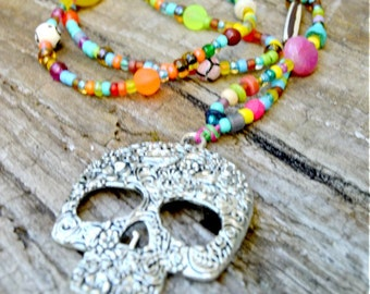 Beaded Hemp Necklace, Skull Jewelry, Skull Necklace, Hemp Necklace, OOAK, Bohemian, Day of the Dead, Long Necklace, Hemp Jewelry