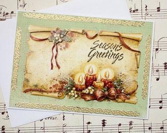 3D Christmas Card, Handmade Christmas Card, Seasons Greetings, Holiday Card, Christmas Candle Card, Vintage Inspired Christmas Card,