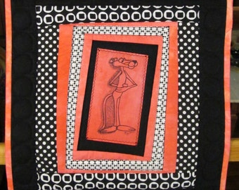 Art Quilt Abstract Pink Panther Black White Pink