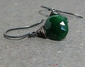 Emerald Earrings Green Dangle May Birthstone Earrings Oxidized Sterling Silver Gift for Her Minimalist Earrings