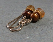 Citrine Earrings Gold Earrings Copper Pearl Earrings Gold Filled Earrings November Birthstone