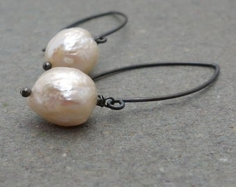 Baroque Pearl Earrings White Pearl Drop Earrings Oxidized Sterling Silver Earrings Gift for Her