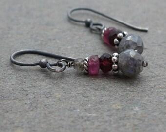Mystic Labradorite Earrings Pink Tourmaline Earrings Oxidized Sterling Silver Earrings