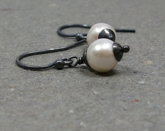 White Pearl Earrings Petite Pearl Earrings Oxidized Sterling Silver June Birthstone Earrings