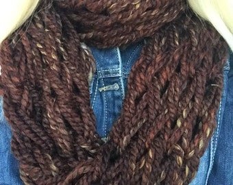 """Extra long Infinity Scarf, Chunky, Hand Knit, Arm Knitting - """"Sequoia"""""""