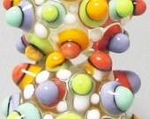 Random Mod Spot Bitty Balls on Clear --Handmade Lampwork Beads