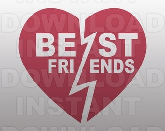 Best Friends SVG File,BFF Heart SVG File-Cutting Template-Vector Clip Art for Commercial & Personal Use-Cricut,Cameo,Silhouette,Vinyl,Decal