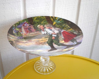 Vintage Hansel & Gretle Cake Plate / Cupcake Stand / Cookie Platter / Appetizer or Dessert Serving Platter. Upcycled Fairy Tale Hostess Gift