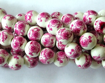 10mm Porcelain Beads with Pink Flowers (20)