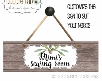 Personalized Door Sign, Sewing Room Sign, Craft Room Sign