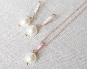 Swarovski Crystal Cream Light Pearl Pave Cubic Zirconia Simple Rose Gold Dangling Earrings Necklace Bridal Jewelry Set Bridesmaids Gifts