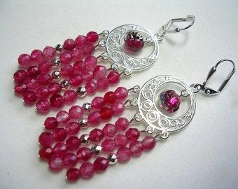 Pink Chandelier Earrings Raspberry Agate Silver Leverback Hooks Shoulder Dusters  Gemstone Chadelier Earrings