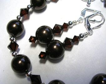 Pearl Bracelet Pearl Earrings Swarovski Chocolate Brown Pearl Bracelet Earrings Wire Wrapped Silver Leverback Hooks Gifts under 10 Wedding