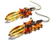 Carnelian Cluster Earrings, Orange, Rustic Boho, Golden Brass Dangles