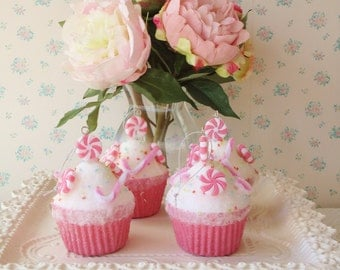 Cupcake Ornament - Shabby Pink, faux candy, sprinkles