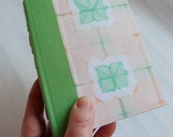 Handbound Journal with peach and green shibori cover