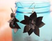 Ecofriendly earrings, statement earrings, lightweight earrings, inner tubes, gift for bicyclist, black earrings, floral earrings #291