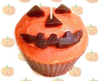 Pumpkin Spice Cupcake Candle Jack O Lantern Face Handmade