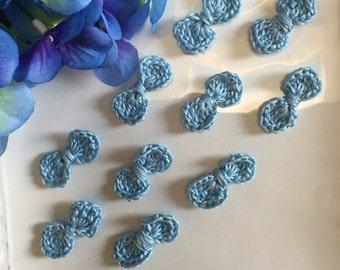 Crochet Bows, Blue bow appliqués, Crochet Spring, 12 Decorative Bows,