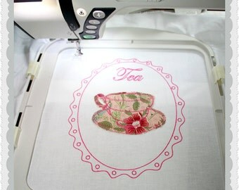 Freehand look machine embroidery design framed applique tea cup