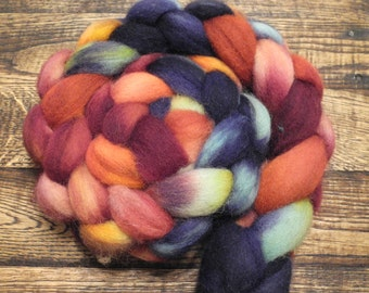 Gasoline Rainbow on Cheviot Wool, Hand Dyed Roving and Spinning Fiber - IN STOCK