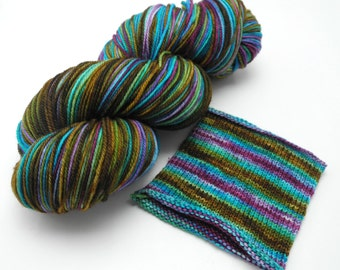Katatomic Watercolor Stripes - Self-Striping Targhee Sock Yarn Made to Order