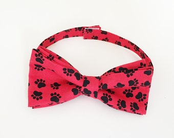 Dog Bow Tie- Black & Red Paw Themed