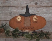 Primitive Grungy Halloween Pumpkin Witch BOO Shelf Sitter Cupboard Tuck Ornie Bowl Filler Fall Decor