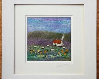 Daffodil Cottage Felt Landscape Picture