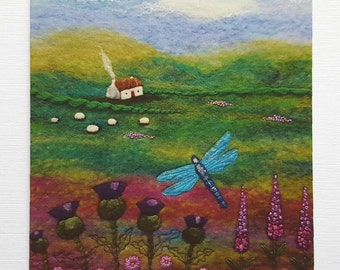 Dragonfly Cottage 12.5cm square Printed Greetings Card